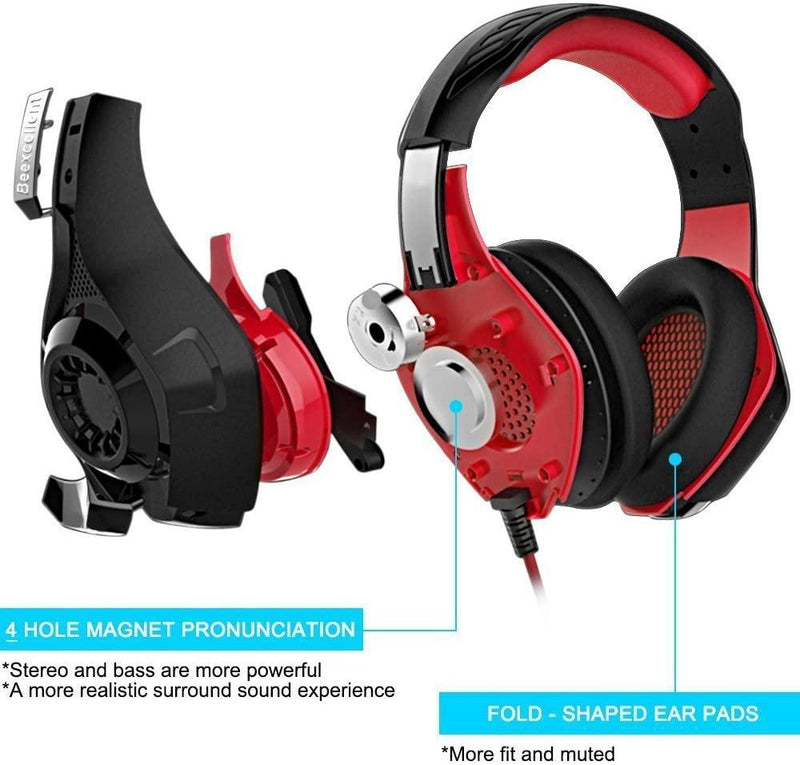 Beexcellent Wired Gaming Surround Sound Headphone, for New Xbox 1, PS4, PC, Cellphone, Laptops, - Model: GM-1 (Red/Black)
