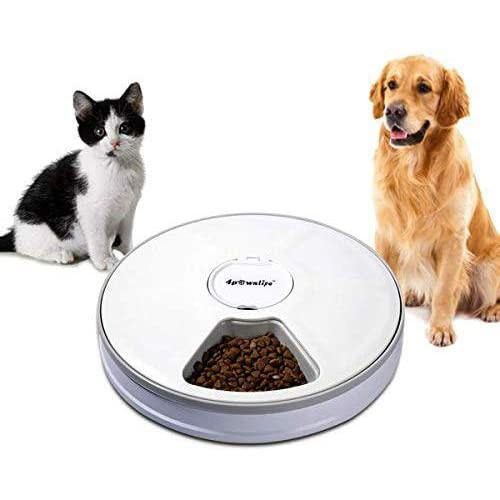 4pawslife 6 Meal Automatic Pet Feeder Food Dispenser with Digital Timer (White)