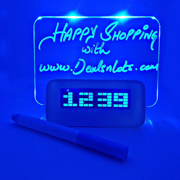 Blue LED Fluorescent Digital Alarm Clock Message Board USB 4 Port Hub