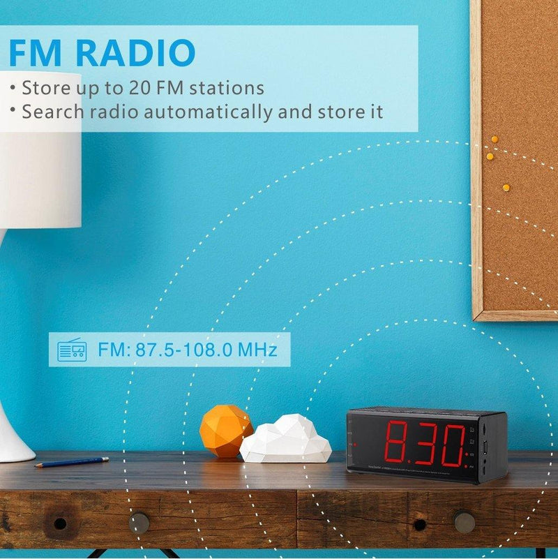Plumeet Alarm Clock Radio & Bluetooth Speakers with Dual Alarm and Snooze, Larger LED Digital FM Radio (Black)