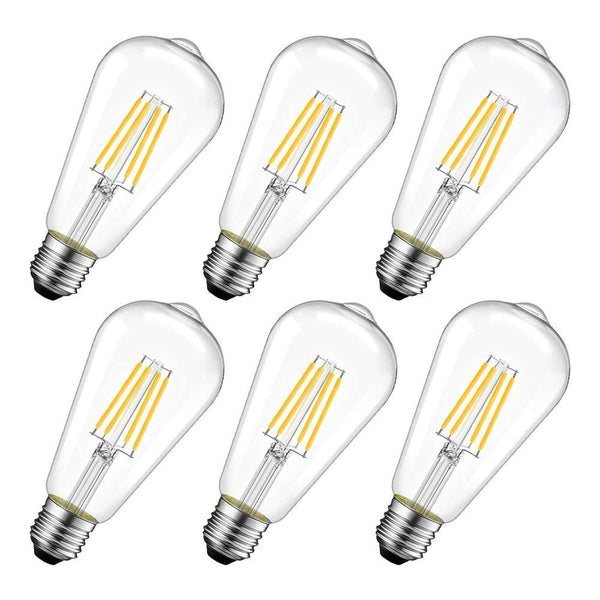 LVWIT LDS-ST64-6W , E27, 8 Watt LED Filament Bulb, 2700K  (6 Pack), [Warm White]