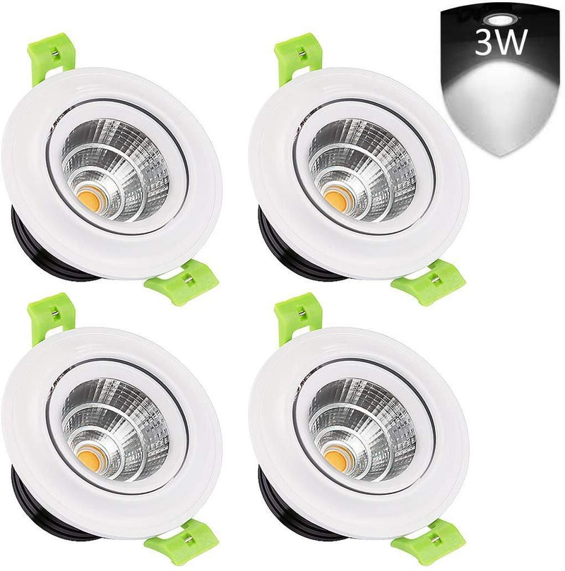 LEDMO 4-Pack LED Recessed Ceiling Lights, 3 inch 3W Model: LC03COB (White)