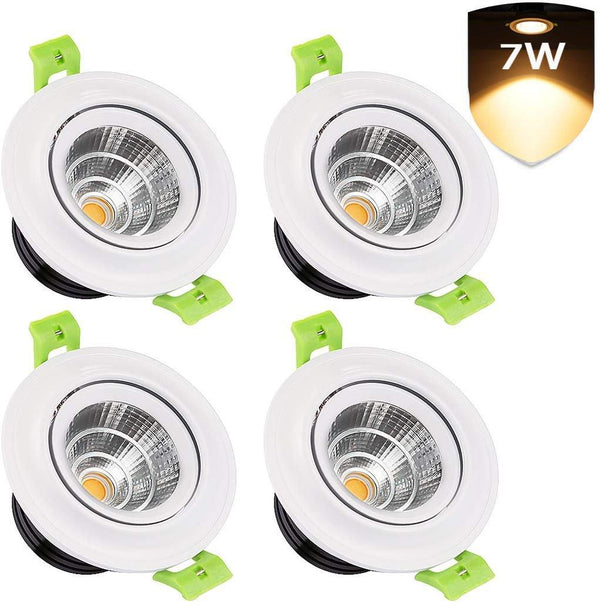 LEDMO 4-Pack LED Recessed Ceiling Lights, 3 inch 7W Model: LC07COB (Warm-White) - DealsnLots
