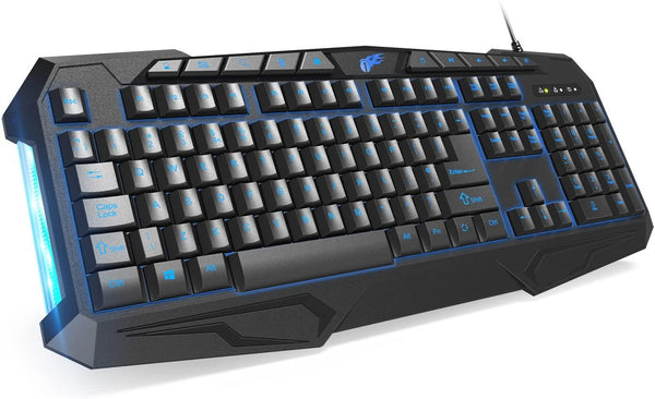 1byone 114 Keys Backlit Wired Gaming Keyboard with Breathing Lights (Black)