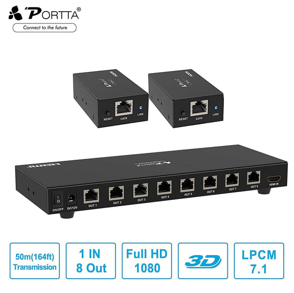 Portta HDMI Splitter Extender 1 in 2 Out Over Single with to Receiver (Black)