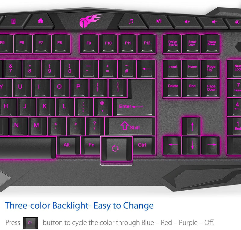 1byone 114 Keys Backlit Wired Gaming Keyboard with Breathing Lights (Black) - DealsnLots