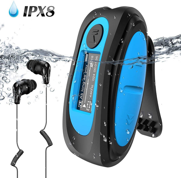 AGPTEK S07 IPX8 Waterproof MP3 Player IPX8 with Clip, 8GB-(Blue)
