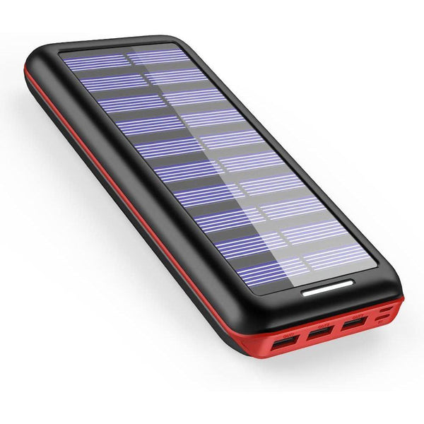 AKEEM  24000mAh External Battery with Dual Input Port and Solar Charger Model: ExpressE1 (RED/BLACK)