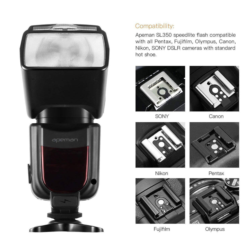 APEMAN Speedlite Flash for Canon, Speedlight for Nikon-SL350 (Black)