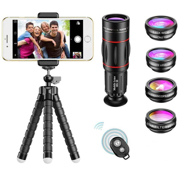 APEXEL 7 in 1 Cell Phone Lens Kit, 18x25 Telephoto Lens+ Fisheye, Macro +Star, Kaleidoscope Filter+ Tripod and Shutter-(Black) - DealsnLots