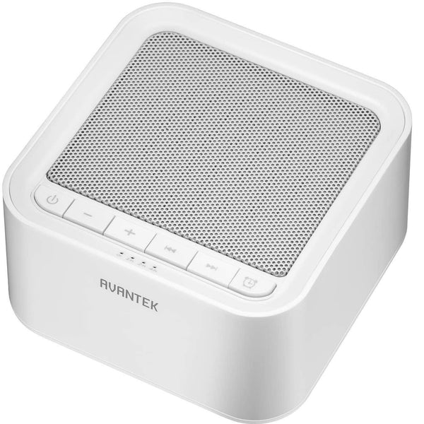 AVANTEK Sleep White Noise Machine, 20 Soothing Natural Sounds Therapy 7 Timer Settings, USB Powered- Model: WN-2B (White)