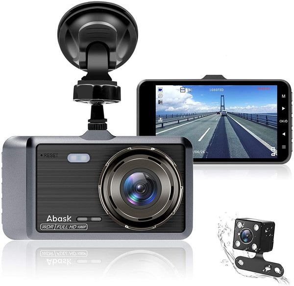 Abask Dash Cam 1080P Full HD, Dash Camera 4 Inches Screen (Silver)