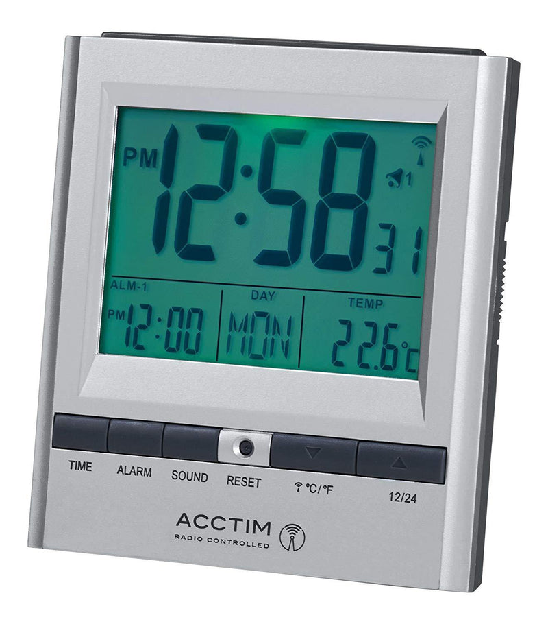 Acctim 71717x Chula RC Digital LCD Alarm Clock (Silver)