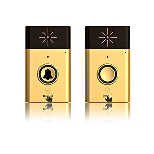 Adv-one Wireless Voice Intercom Doorbell, with 1 Push Button Transmitter and 1 Receiver, Battery Operated Over 600 feet Range- Model: H6 (Gold/Black)