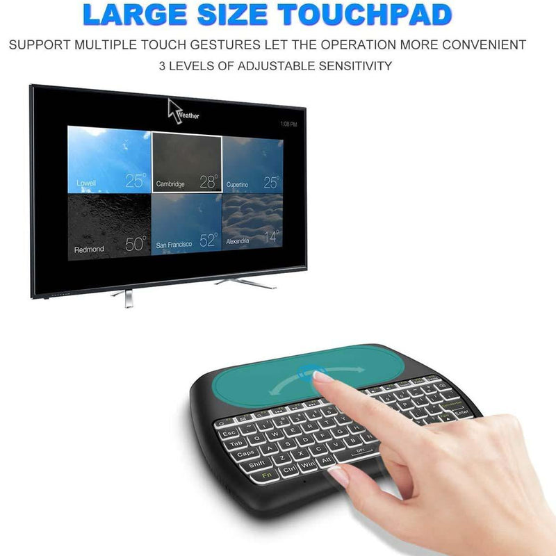 Aerb 2.4GHz Mini Wireless Keyboard with Mouse Touchpad Rechargeable Combos for PC, Pad, Google Android TV Box and More- MODEL: D8 (black) - DealsnLots