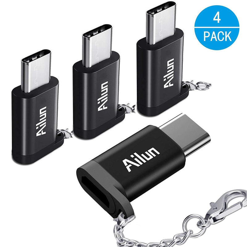 Ailun USB Type C Adapter 4 Pack USB C to Micro USB Convert Connector Compact with Keychain Sync and Charge (Black)