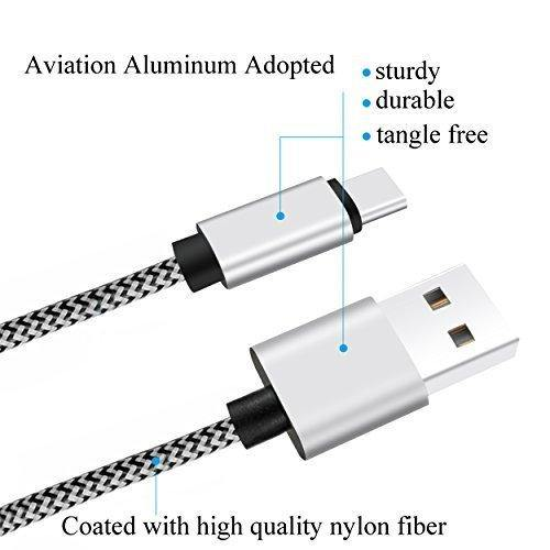 Ailun USB to Type C Cable, 6ft 2 Pack (White-Black)
