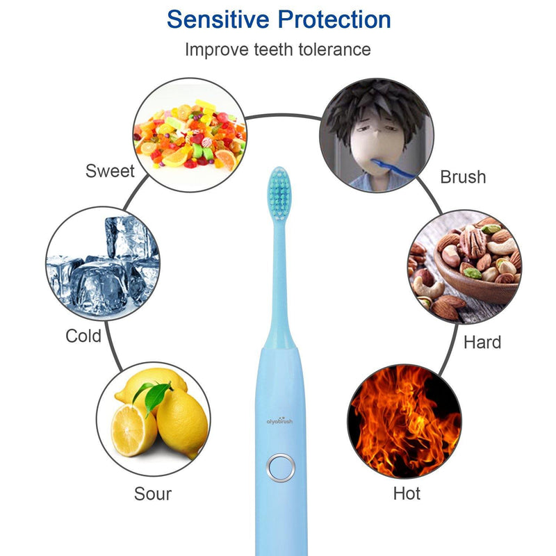 Aiyabrush Sonic Electric Toothbrush brushing reminder Rechargeable Toothbrushes (Blue)