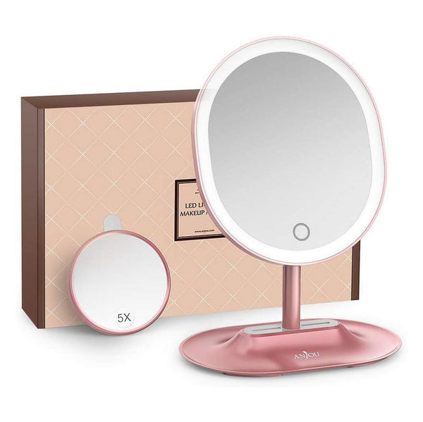 Anjou Mirror Rechargeable LED Lighted (Pink)