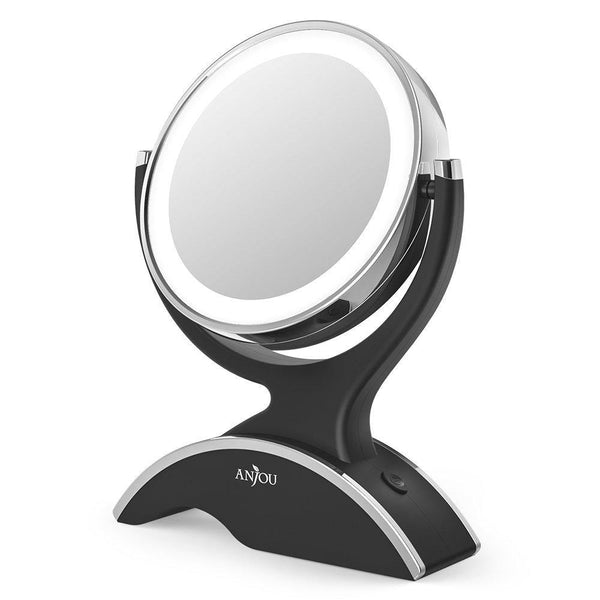 Anjoy makeup mirror with LED light double sided, 360° rotation- (Black)