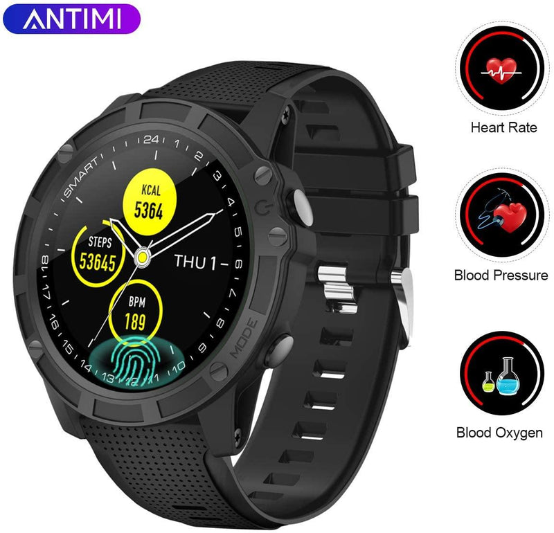 Antimi Bluetooth Smart Watch- Fitness Tracker- Activity Trackers- With Pedometer Heart Rate Monitor, Blood Oxygen Pressure, IP68 Waterproof - Model: A5 (Black)