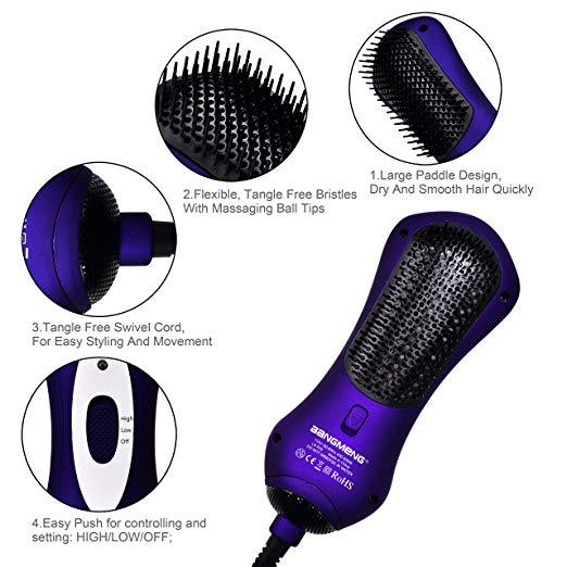Mini One Step Blow Dryer & Styler Hot Air Paddle Brush Model:LS-039 (purple)