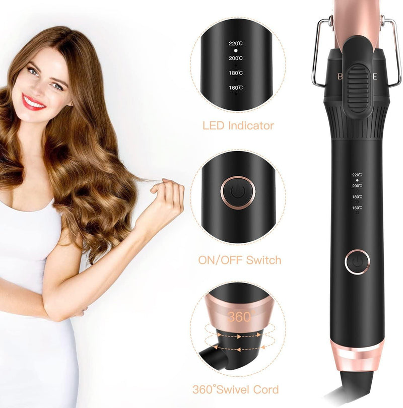 BESTOPE Ceramic Hair Curling Wand with 4 Heat Setting 220℃- Model: BP06002 (Brown/Black)