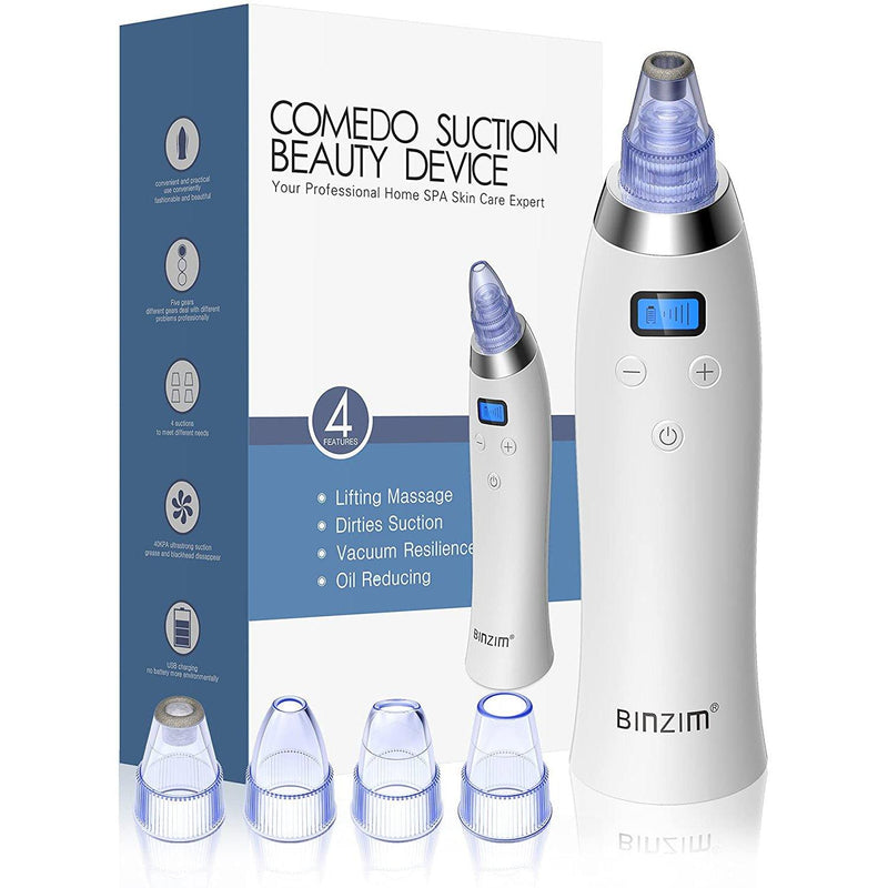 BINZIM Facial Cleansing Tool 4 Replaceable Suction Heads 5 Adjustable Suction Powers, USB Rechargeable and LED Display- (Black) - DealsnLots