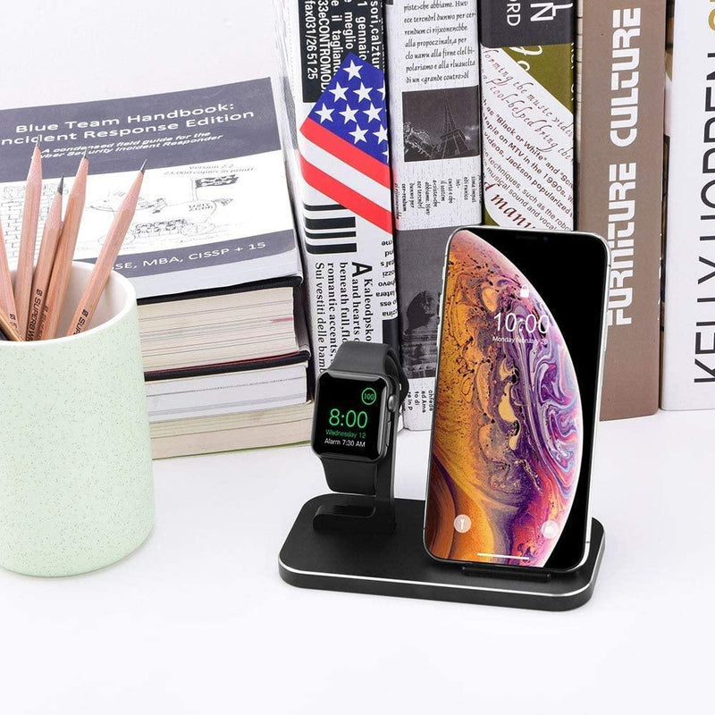 BNCHI 2-in-1 Aluminum Alloy Phone and Watch Fast Wireless Charging Stand-5V/1A--9V/1A--(Black)