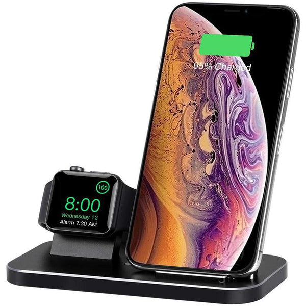 BNCHI 2 in 1 Aluminum Alloy Wireless Charging Station Compatible Phones & iWatch Holder NX600-S1 - DealsnLots
