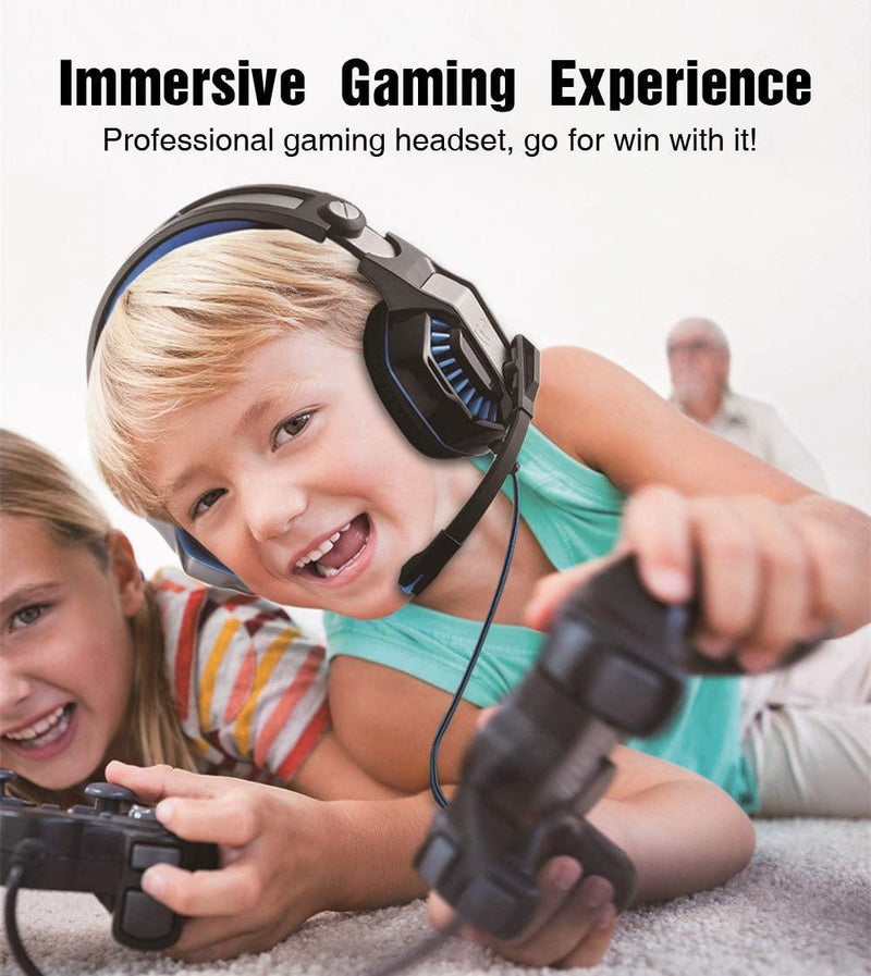 Beexcellent Gaming Headphones Surround Sound, LED Light & Noise Canceling Microphone- Model: GM-20 (Blue/ Black)
