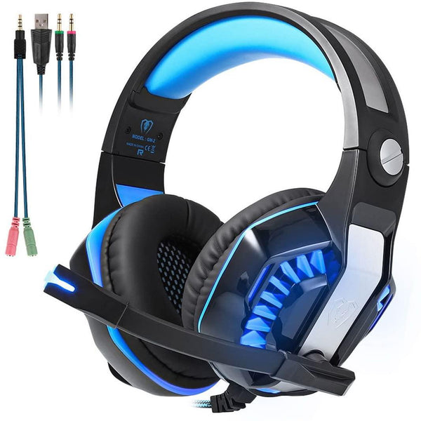 Beexcellent Noise Cancelling Gaming Headphones with Mic and LED Light, Stereo PC - Model: GM-2 [Blue/Black]