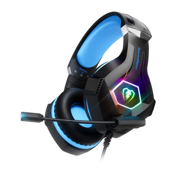 Beexcellent Upgrade Version Gaming Headset for PC, PS4, Xbox One, with Microphone & LED Back Lights - Model: GM-6 - (Black/Blue)