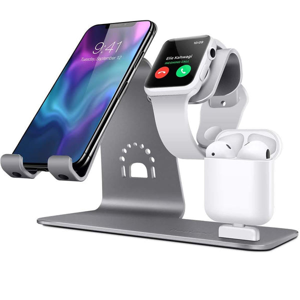 Bestand 3 in 1 Apple iWatch Stand, Airpods Charger Dock, Phone Desktop Tablet Holder for Airpods, Apple Watch- Model: TI-Mingle (Grey)