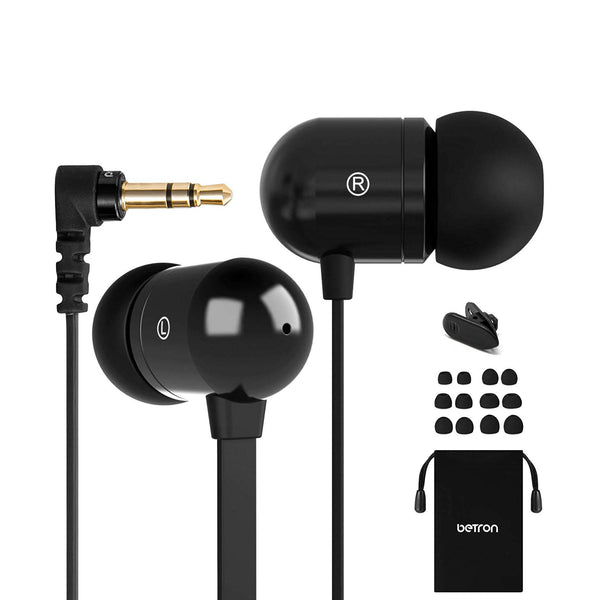 Betron Wired Noise Isolating Tangle-Free Earphones With Mic-Model: B750s-(Black)