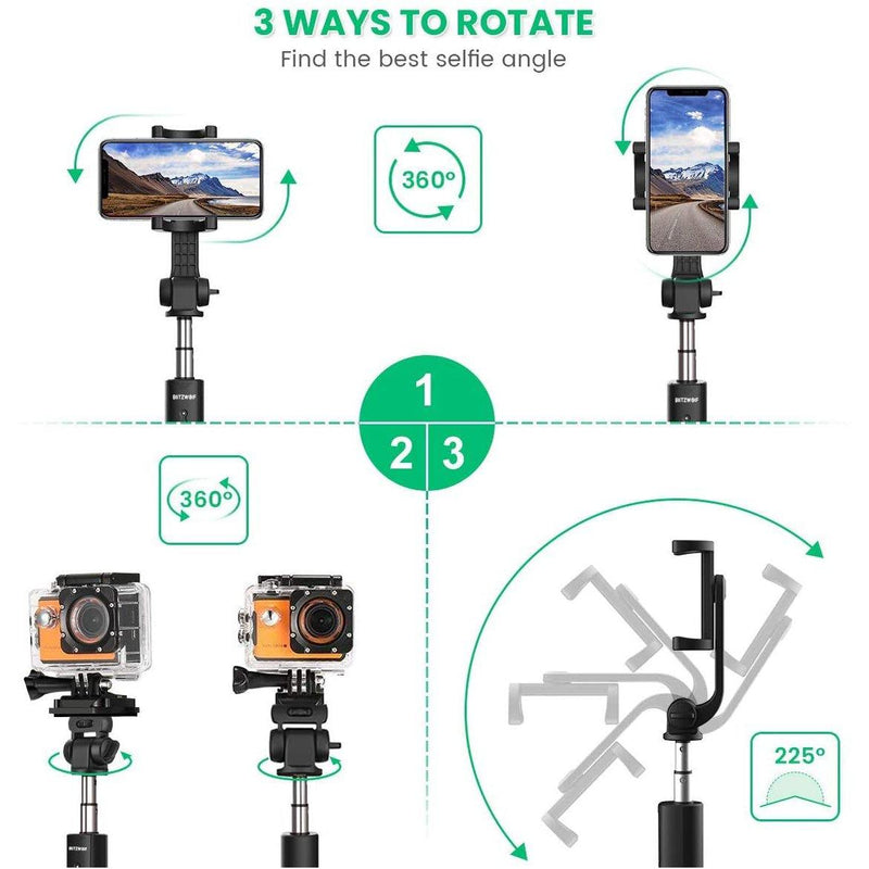 BlitzWolf Selfie Stick Tripod 35 inch Extendable with Wireless Remote- Model: BW-BS5 (Grey/Black)