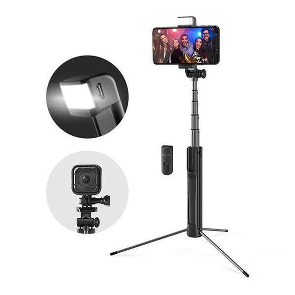 Blitzwolf BW-BS8 Extendable Bluetooth Tripod Selfie Stick with LED Fill Light for Phone Sport Camera - Black