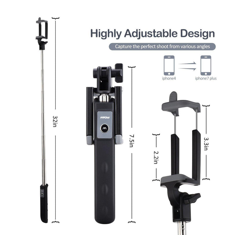 Mpow Bluetooth Selfie Stick, Extendable Monopod Clamp Phone Holder (Black)