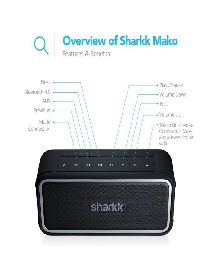 Sharkk MAKO Bluetooth Speaker 20W IP67 Submersible Waterproof Speaker - (Black)