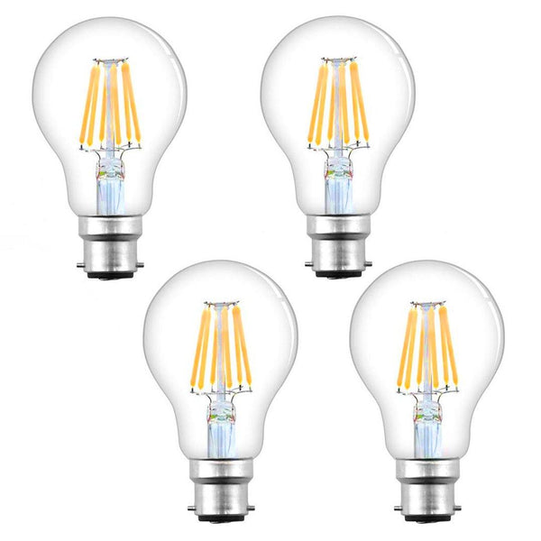 Bonlux Bayonet Dimmable LED Antique Filament Bulb Pack Of 4 - (8W B22) - (Warm White)