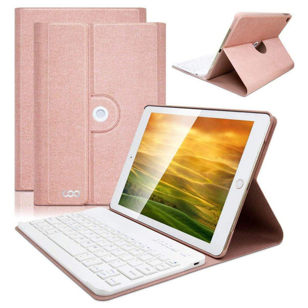 COO iPad Cover With Bluetooth Wireless Removable iPad Keyboard Case for iPad 9.7 - (Champagne)