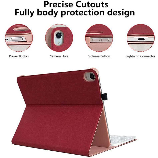 "COO iPad Pro 11"" inch Keyboard Case 2018 Detachable Wireless Keyboard with Ultra Slim PU Leather Case- (Burgundy)"