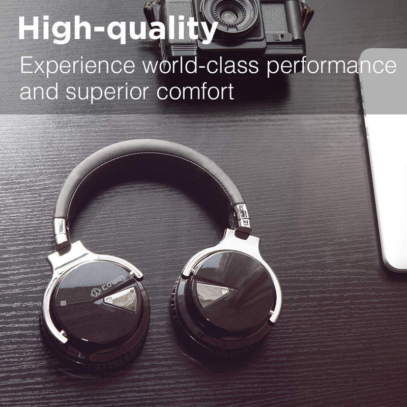 COWIN Bluetooth Headphones with Microphone Deep Bass Active Noise Cancelling- Model: E7 (Black/Silver)