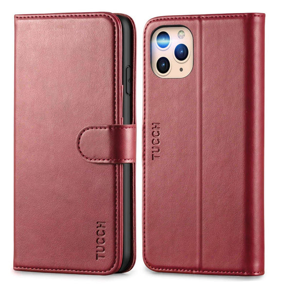 TUCCH iPhone 11 Pro Max Wallet Case With Magnetic Auto Wake Sleep RFID Protection Card Slots [TPU Shockproof Interior Case] And PU Leather Stand Flip Cover