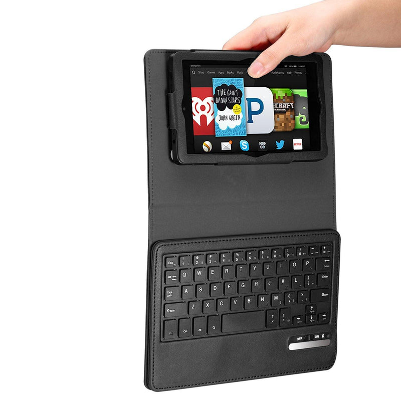 Moko Cover with Removable Wireless Bluetooth Keyboard for Amazon Kindle Fire HD 6 (Black)