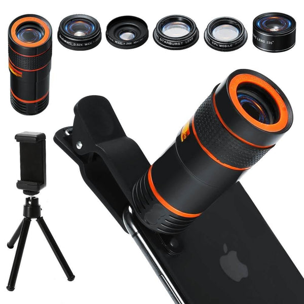 Cell Phone Camera Lens Kit,6 in 1 Universal 12x Zoom Telephoto+0.62x Wide Angle &20x Macro +235°Fisheye +Starburst Lens +CPL +Phone Holder +Tripod (Black)