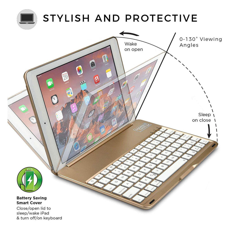 Cooper Notkee F8S Clamshell Backlit Keyboard Case For Apple Ipad - (Gold)
