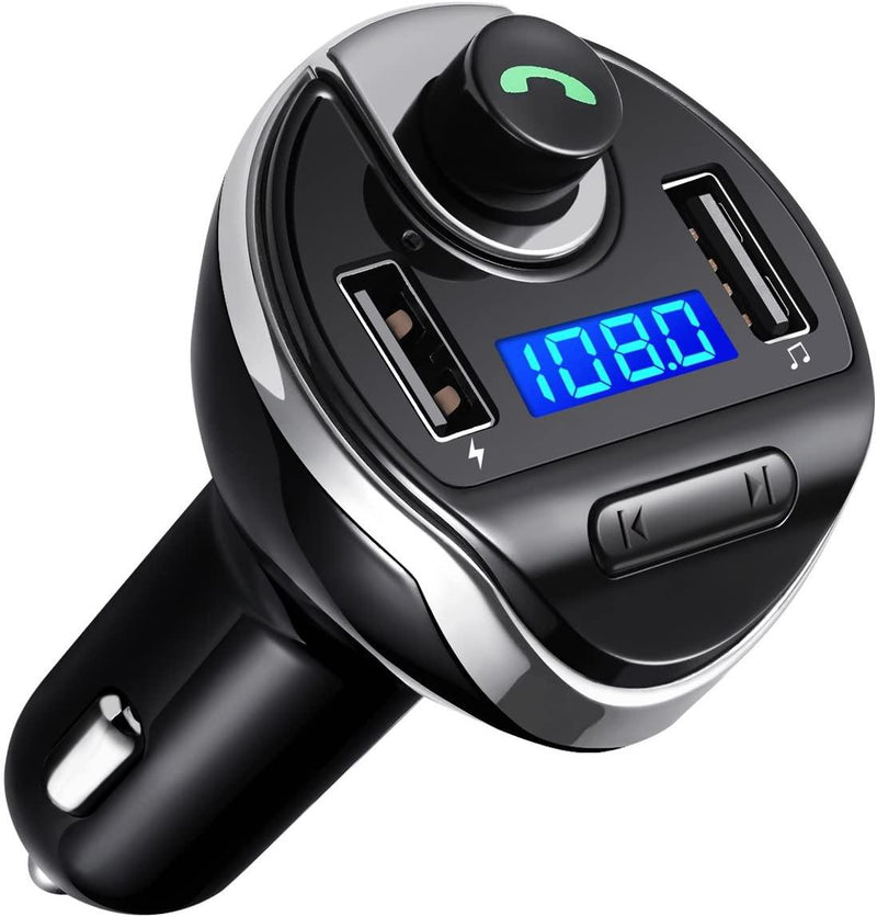 Criacr Wireless Bluetooth FM Transmitter for Car,Dual USB Charging Ports, Hands Free Calling, U Disk, TF Card MP3 Music Player-(Black)