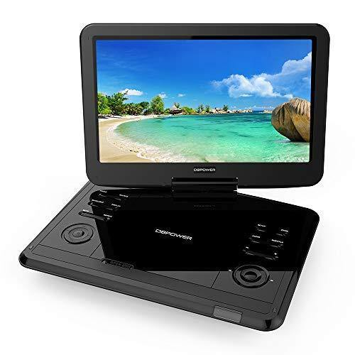 "DBPOWER 12.1"" Portable DVD Player with Rechargeable Battery, Swivel Screen, Supports SD Card and USB, with 1.8M Car Charger and 1.8M Power Adaptor (Black)"