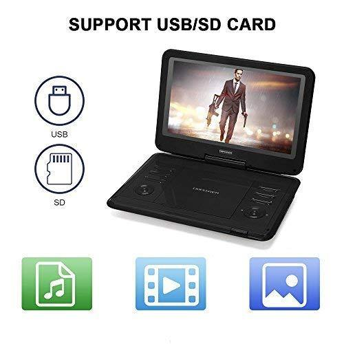"DBPOWER 11.5"" Portable DVD Player with Rechargeable Battery, Swivel Screen, Supports SD Card and USB, with 1.8M Car Charger and 1.8M Power Adaptor (Black)"